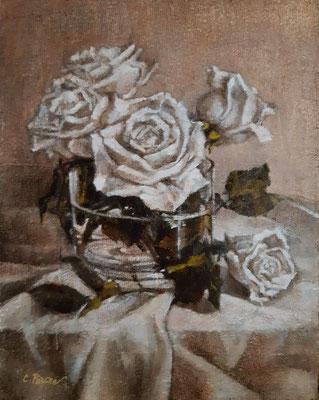 """Rose bianche"" - olio su tavola, cm. 24 x 30 - € 450,00"