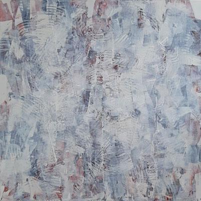 """""""Viaggio nella memoria"""", tecnica mista su tela, cm. 80 x 80 – € 1100"""