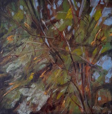 """""""Vegetalia"""", olio e cera fredda su tela, cm. 40 x 40- Sat Rosu , judet ILFOV (Romania), collezione privata"""