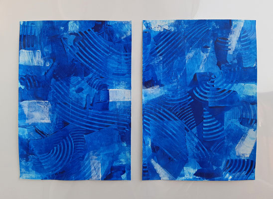 "Dittico ""Blue Hope"", due acrilici su carta Canson, cm. 29,7 x 42 – € 160"