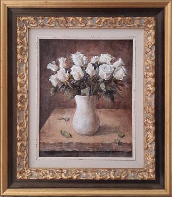 """""""Aspettando Gladys"""" con cornice d'esempio - olio su tavola, cm. 24 x 30 - € 350,00 esclusa cornice"""