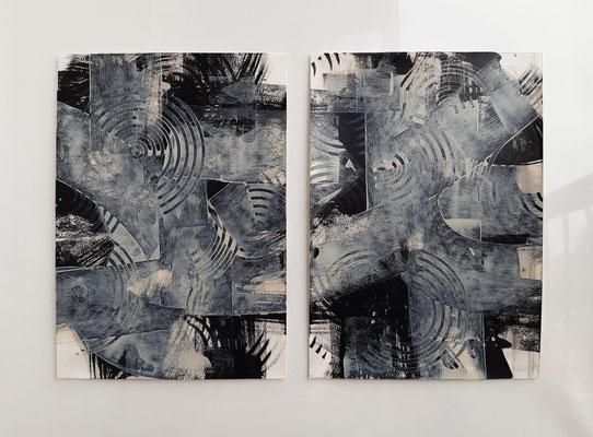 "Dittico ""Gladys"", due acrilici su carta Canson, cm. 29,7 x 42 – € 160"