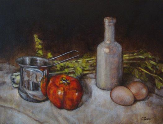 """""""La bottiglia bianca"""" - olio su tela, cm. 30 x 40 - € 300,00"""