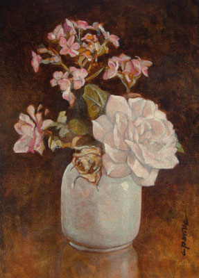 """""""Piccoli fiori"""" - acrilico su cartone telato cm. 18 x 13 - Cernusco sul Naviglio, collezione privata"""