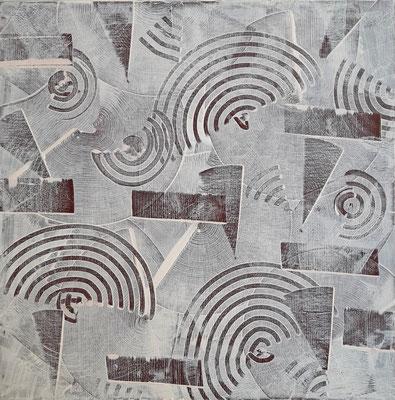 """""""Game in White"""", acrilico su tela, cm. 40 x 40 x 4 – € 300"""