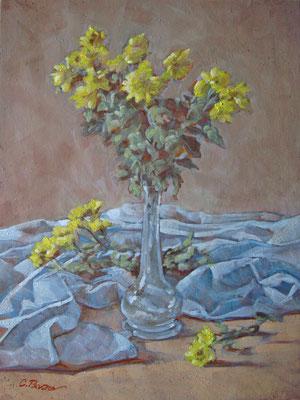 """Fiori gialli"" - olio su cartone telato, cm. 30 x 40 - € 150,00"