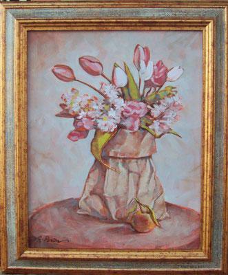 """""""Fiori e clementina"""" - olio su tela, cm. 24 x 30 - Pioltello, collezione privata"""