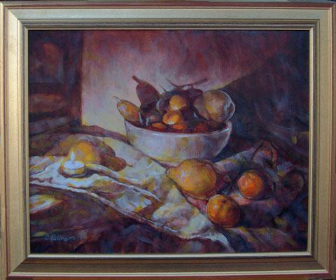 """""""Lume e frutta"""" cornice - olio su tela, cm. 40 x 50 - Dalmine, collezione privata"""
