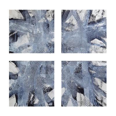 """Polittico """"Yrene"""", quattro acrilici su legno, cm. 40 x 40 (x 4) – € 800"""