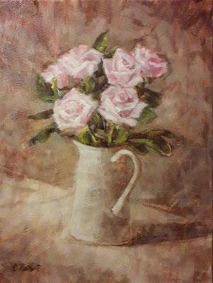 """""""Rose rosa nel vaso bianco"""" - olio su tela, cm. 24 x 30 - € 220,00"""