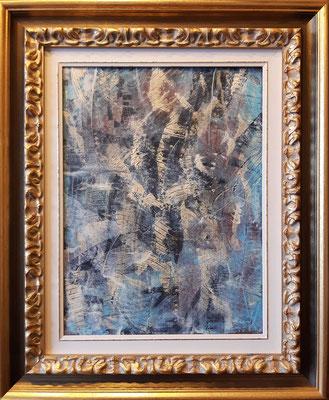 """""""Me lo ricordo ancora"""" con esempio di cornice, acrilico su tela, cm. 30 x 40 – € 350"""