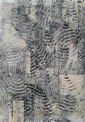 """""""Grey monotype"""", monotipo ad acrilico su carta Yupo, cm. 29,7 x 42 – € 250"""