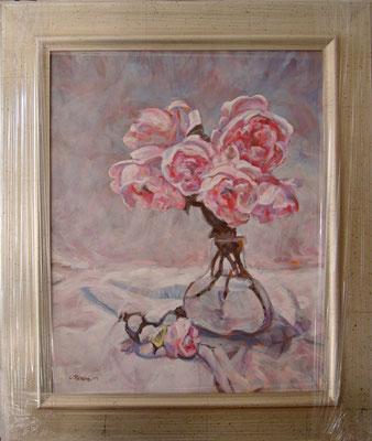 """""""Peonie - Omaggio a D. Perrin"""" cornice - olio su tela, cm. 40 x 50 - Vimodrone, collezione privata"""