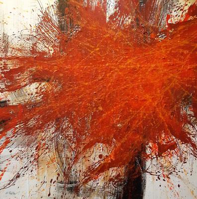 """""""Fu un attimo di rabbia"""", tecnica mista su tela, cm. 80 x 80 – € 1100"""