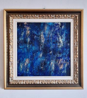 """""""Il sorriso della notte"""" con cornice d'esempio – acrilico su tela, cm. 40 x 40 - € 650"""