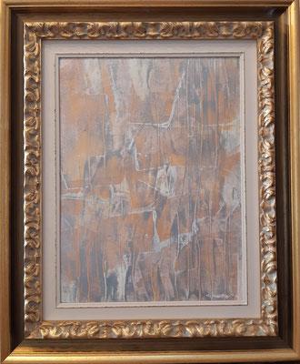 """""""Abstract 101020"""" con cornice d'esempio, tecnica mista su carta, cm. 30 x 40 – € 150"""