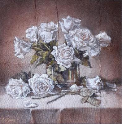 """""""Le rose dell'attesa"""", olio su tavola, cm. 30 x 30 - € 400,00"""