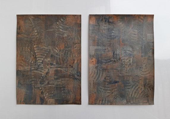"""Dittico """"Yessenia"""", due tecniche miste su carta Arches, cm. 29,7 x 42 – € 300"""