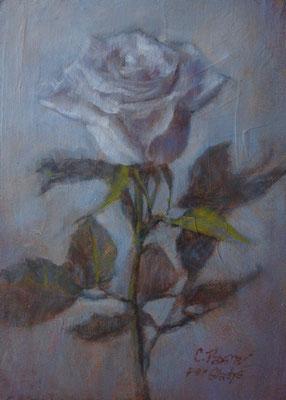 """""""Una rosa per Gladys"""" - olio su pannello telato, cm. 13 x 18 - Pioltello, collezione privata"""