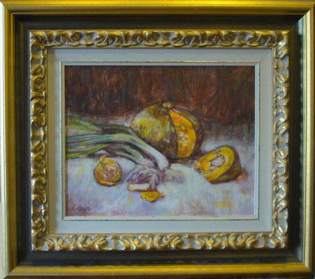 """""""Zucca e cipollotti"""" - olio su tela, cm. 24 x 30 ESEMPIO DI INCORNICIATURA"""