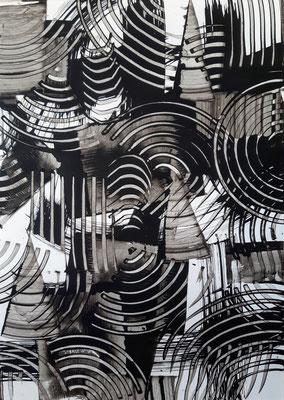 """""""Monochrome dance 2"""", acrilico su carta Yupo, cm. 29,7 x 42 – € 130"""