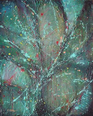 """Piccola vegetalia"", acrilico su tela, cm. 40 x 50 x 3,5- € 250,00"