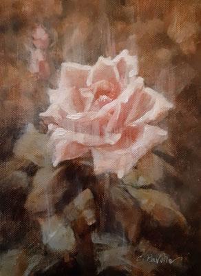 """""""La Rosa della speranza"""" - olio su tela trasportata su tavola, cm. 13,5 x 18,5 - € 80,00"""