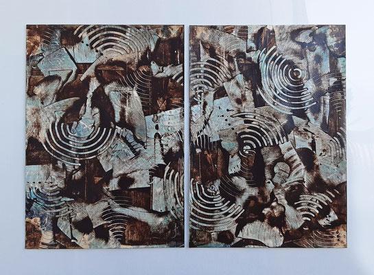 """Dittico """"Adele"""", due acrilici su carta Canson, cm. 29,7 x 42 – € 300"""