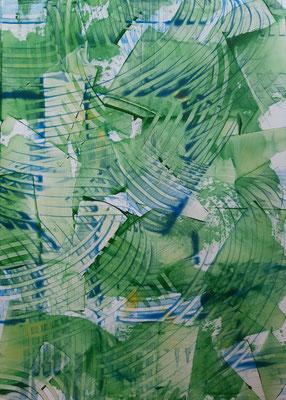 """""""Green tale"""", acrilico su carta, cm. 29,7 x 42 – € 250"""