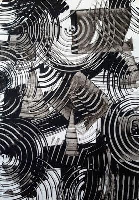 """""""Monochrome dance 1"""", acrilico su carta Yupo, cm. 29,7 x 42 – € 130"""
