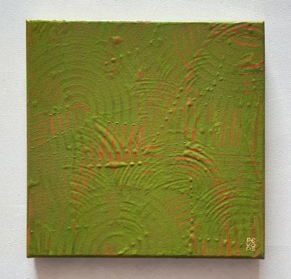 """""""Green ritual"""", olio su tela, cm. 30 x 30 x 50 – € 290"""