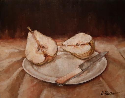 """""""La pera tagliata"""" - olio su tela, cm. 20 x 25 - € 150,00"""