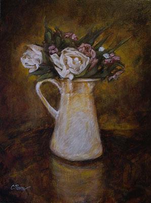 """""""Brocca bianca con fiori"""" - olio su tela, cm. 30 x 40 - Anzio, collezione privata"""