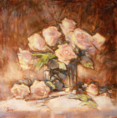 """""""Rose in vaso di cristallo"""" - olio su tela, cm. 40 x 40 - Milano, collezione privata"""