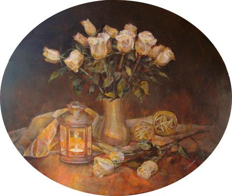 """""""Rose bianche"""" - olio su tavola ovale, cm. 50 x 60 - Pioltello, collezione personale dell'autore"""