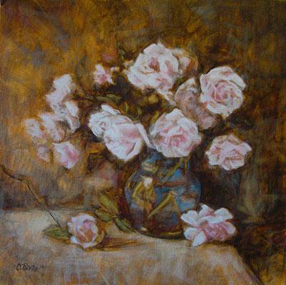 """""""Rose rosa in vaso blu"""" - olio su tela, cm. 40 x 40 - € 260,00"""