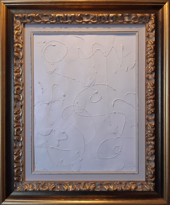 """Trittico """"Tracks"""", parte 1 con cornice d'esempio, tecnica mista su carta, cm. 30 x 40 - € 150"""