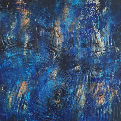 """""""Il sorriso della notte"""" – acrilico su tela, cm. 40 x 40 - € 120"""
