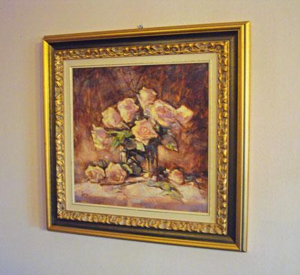 """""""Rose in vaso di cristallo"""" - olio su tela, cm. 40 x 40 - Milano, collezione privata – ESEMPIO DI INCORNICIATURA"""