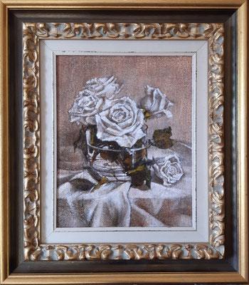 """""""Rose bianche"""" con cornice d'esempio - olio su tavola, cm. 24 x 30 - € 450,00"""