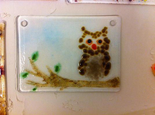 Toller Bilderrahmen aus Glas mit Eule- siehe Veranstaltungen Kinder Mannheim