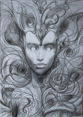 Twisted-vision-verdrehte-Sicht-giger-pencil-drawing-female-face-sketch-portrait-auftrag-kunst-aether-swirls-wirbel-
