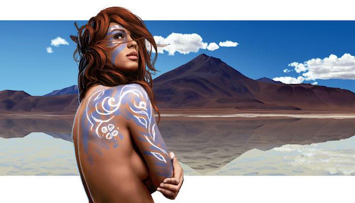 tribal-girl-landscape-body-paint-sky-illustration-photorealistic-comission-portrait-study-1-2