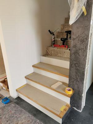 Einbau der Treppenstufen