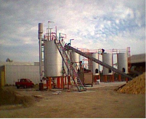 Planta de producción de carbón vegetal en Chile: vista de los hornos