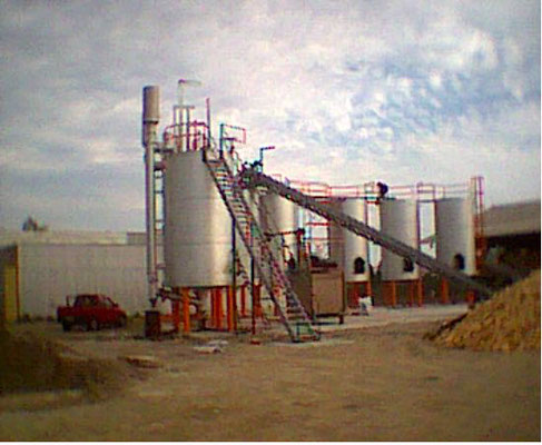 Usine de production de charbon de bois au Chili : vue des fours
