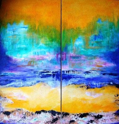Paysage I et II - (2) 50x100cm - Technique mixte (collection privée)