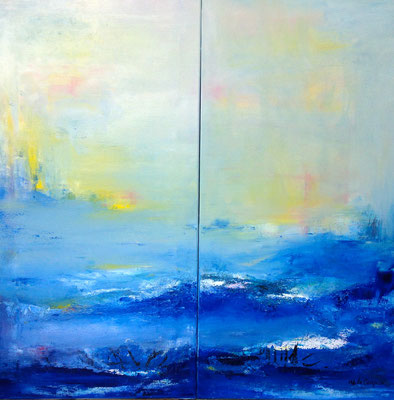 Horizon, diptyque - Technique mixte - (2) 50x100cm