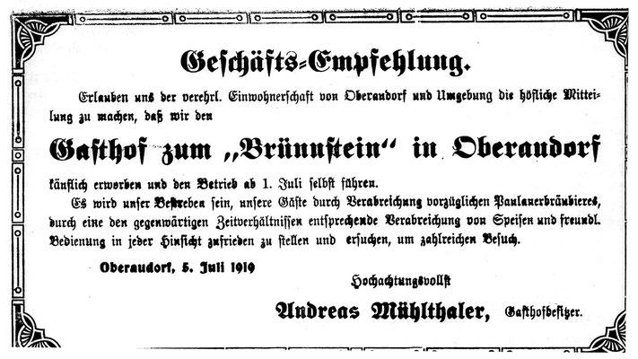 Anzeige Audorfer Anzeiger aus dem Jahr 1919