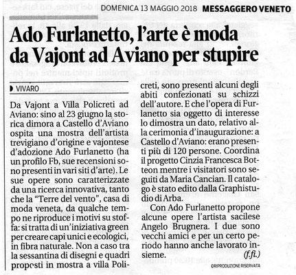 Personale di Ado Furlanetto  e dello scultore Angelo Brugnera a Villa Policreti